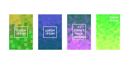 Cards set with pixel texture. Vector illustration. Gradient pastel colors.