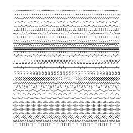 A set of sewing machine lines. Black stitch patterns vector illustration.