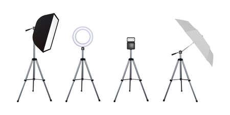 Soft box and umbrella reflectors, flash and circular speed light. Photo flash equipment. Vector illustration. Spotlight softbox.