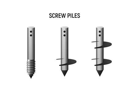Types of screw piles. Construction foundation set. Vector illustration.