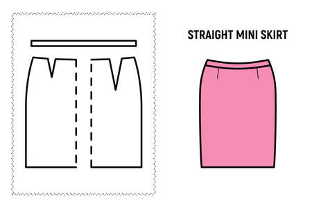 Women straight mini skirt pattern. Technical drawing for sewing. Vector illustration.