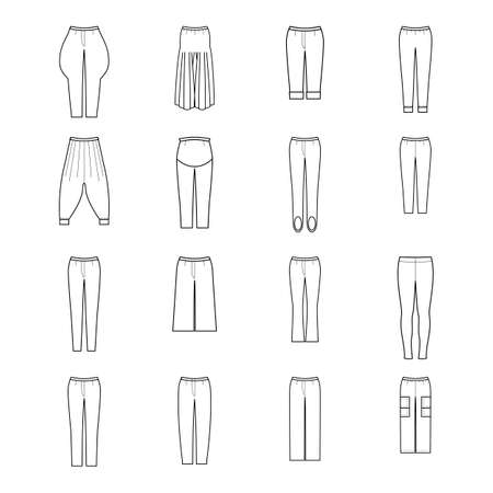 Trousers for woman set. Pants vector pattern for tailor. Technical design illustration and sketch.