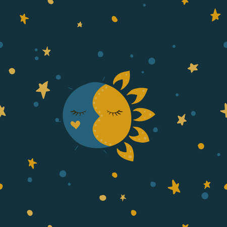 Sleeping sun and moon. Stars in the sky. Vector illustration. Night and day. Seamless pattern background.