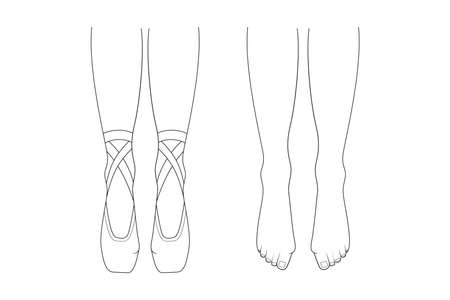 Professional ballerinas bunion illness. The dancers legs are barefoot and in pointes. Outline vector illustration.