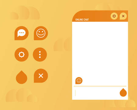 Online chat help agents. Text message page. Orange color web template vector illustration