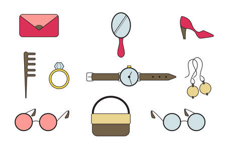 Accessories for girls. Flat doodle design vector illustration. Bag, clutch, watch, glasses, comb, ring earrings shoes mirror
