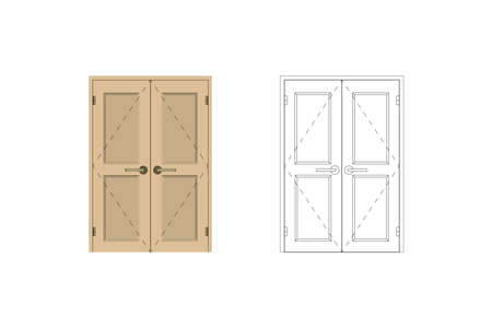 Indoor door. Blueprint drawing. Design interior Vector illustration