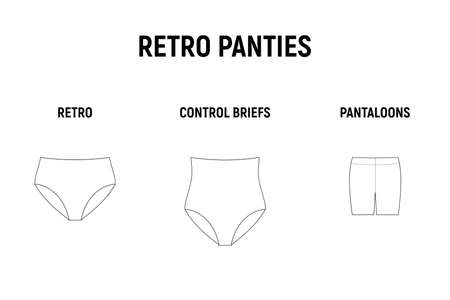 Retro panties set. Underwear for woman vector technical design illustration. Retro, control briefs, pantaloons.