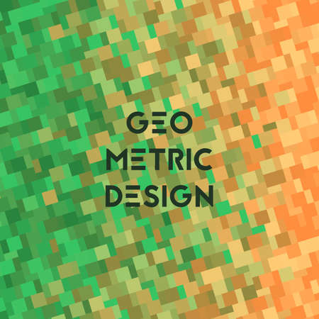 Background with geometry texture. Vector illustration. Gradient green and orange.