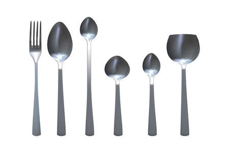 Spoon and fork set. Metallic kitchen cutlery. Vector illustration.