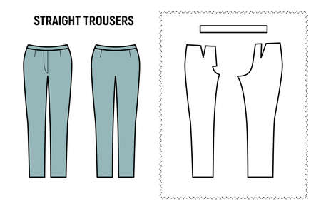 Straight trousers for woman. Pants vector pattern for tailor. Technical design illustration and sketch. Ilustração