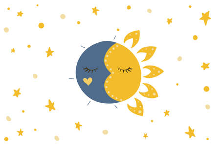 Sun, stars and moon. Vector illustration. Night and day sky. Ilustração