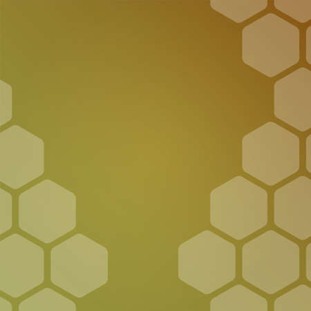 Abstract background with honey hexagons. Web blank card design. Honeycomb vector illustration. Ilustração