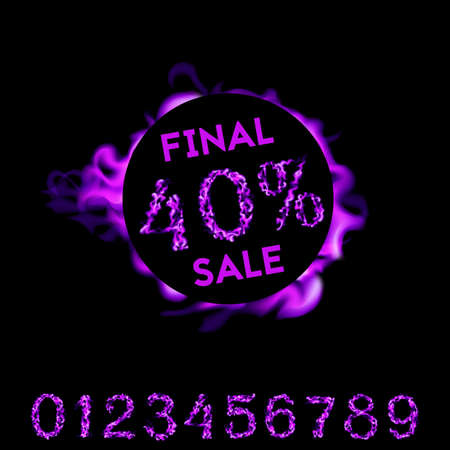 40 percent final sale. Purple fire design on black background. Vector illustration