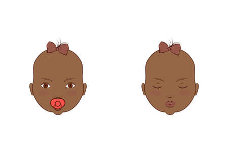 African American twins girls. Vector illustration of the portrait of cute babies.