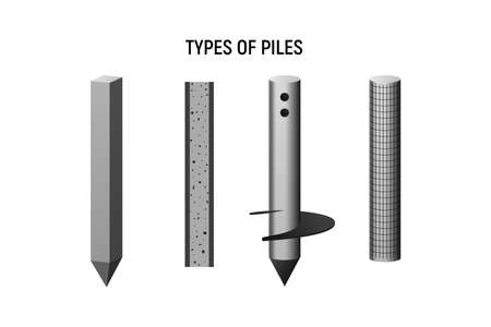 Types of piles. Construction foundation set. Vector illustration.
