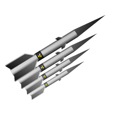 A nuclear missile. Vector illustration. Military danger technology.