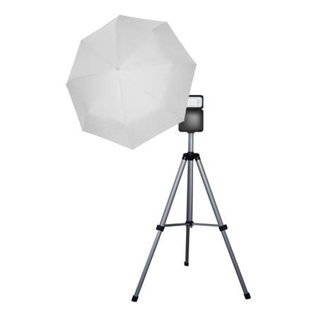 White umbrella reflector for speed light. Professional camera equipment. A video illustration.