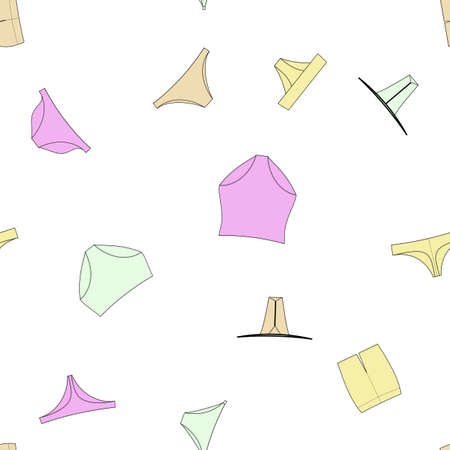Different panties for women vector illustration. Seamless pattern background.