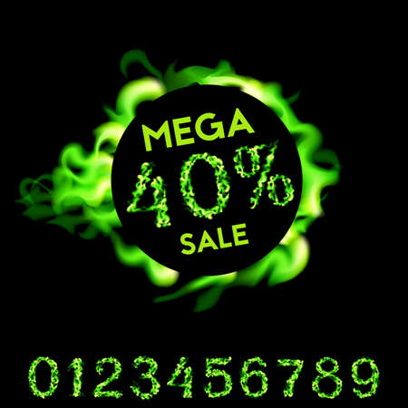 40 percent mega sale. Green fire design on black background. Vector illustration