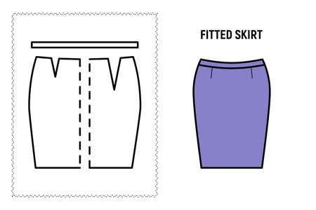 Women fitted skirt pattern. Technical drawing for sewing. Vector illustration.