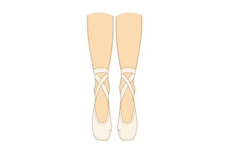 The legs of a ballerina in pointes. Vector illustration of the dancers shoes.