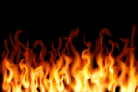 Realistic fire on a black background. Vector illustration. Burning design. 矢量图像