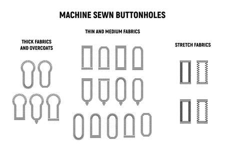 Buttonhole sewing machine set. Thick, thin,medium and stretch fabrics. Vector illustration button holes
