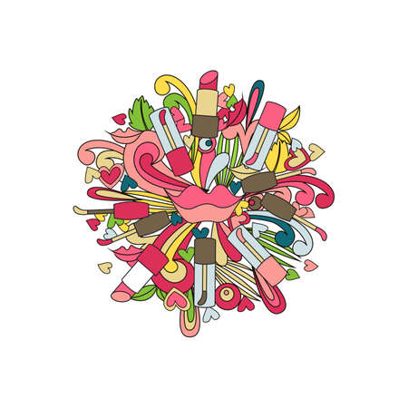 Doodle lip makeup design. Vector illustration. Lipstick and gloss.