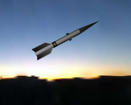 A nuclear missile flies in the sky. Vector illustration. Radioactive army technology.