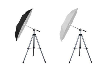 Black and white umbrella reflectors for speed light. Professional camera equipment. A video illustration. 矢量图像