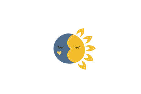 Sleeping face of sun and moon. Sweet dreams. Vector illustration. Night and day.