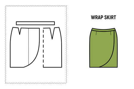 Women wrap skirt pattern. Technical drawing for sewing. Vector illustration.