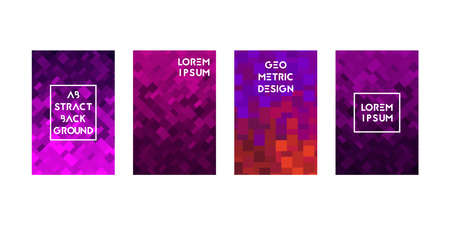 Cards set with pixel texture. Vector illustration. Gradient pink and purple.