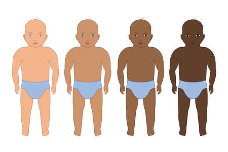 Baby international set with different races. Vector illustration. Latino, African American and Caucasian ethnic  イラスト・ベクター素材