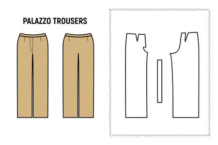 Palazzo trousers for woman. Pants vector pattern for tailor. Technical design illustration and sketch.