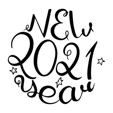 2021 New Year. Vintage handwritten calligraphy Vector illustration