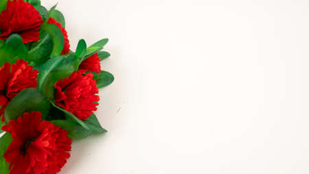 Artificial plastic red carnations. Frame, white background. Dead monument decoration 版權商用圖片