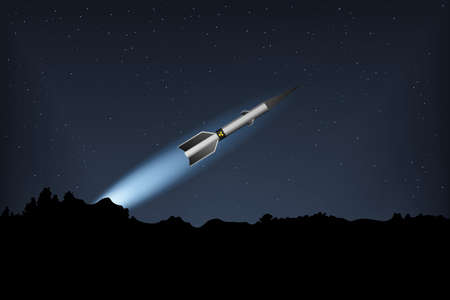A nuclear missile flies in the night sky. Vector illustration. Military forces.