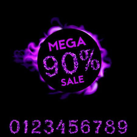 90 percent mega sale. Violet fire design on black background. Vector illustration