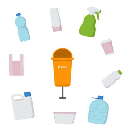 Waste sorting set. Vector illustration design. Orange trash bin for plastic. Bottle, drink, bag, cosmetics, spray shampoo canister