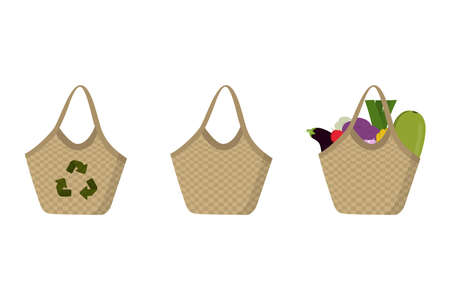 Eco friendly straw bags set with farm products. White background, vector illustration. Reusable textile handbags 向量圖像