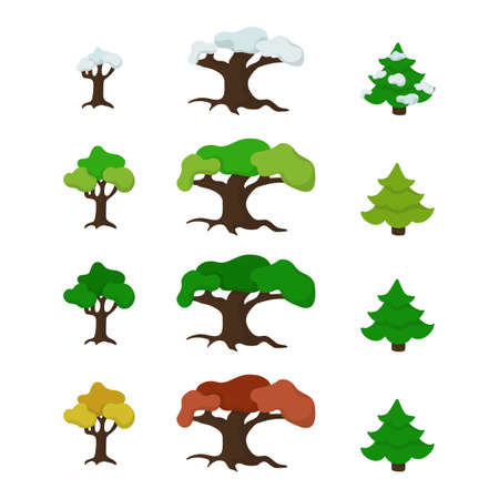 Trees set of four seasons. Spring, summer, autumn and winter nature. Vector illustration. 向量圖像