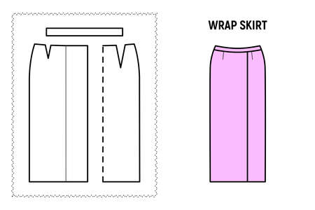 Women wrap midi or maxi skirt pattern. Technical drawing for sewing. Vector illustration. 向量圖像