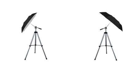 Black umbrella reflectors for speedlight. Professional camera equipment. A video illustration.