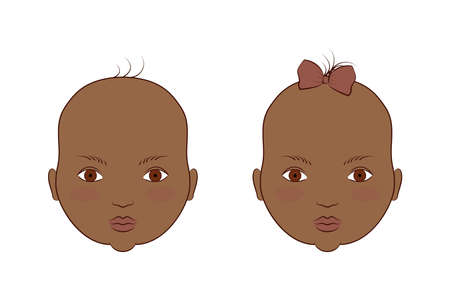 African American twins boy and girl. Vector illustration of the portrait of cute babies.