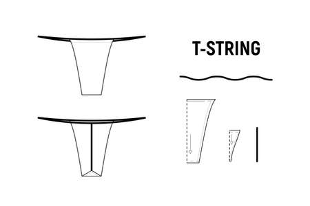 T string panties for woman. Underwear vector pattern for tailor. Technical design illustration and sketch.
