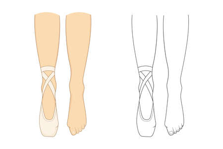 Professional ballerinas bunion illness, hallux valgus. The dancers legs are barefoot and in pointes. Outline vector illustration. 向量圖像
