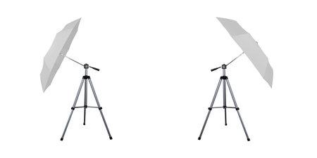 White umbrella reflectors for speedlight. Professional camera equipment. A video illustration.