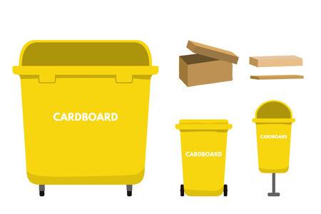 Waste sorting set vector illustration. Garbage bin for cardboard, recycling package